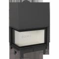 Kratki teplovzdušná krbová vložka MBO/L/BS/G 15 kW levé boční prosklení gilotina doprava a kouřovody
