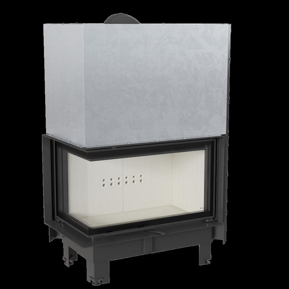 Kratki teplovzdušná krbová vložka MBO/L/BS/G/SG 15 kW levé boční prosklení,ohýbané sklo gilotina doprava a kouřovody zdarma