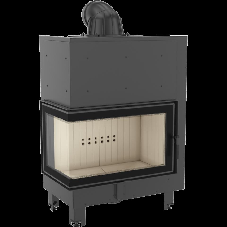 Kratki teplovzdušná krbová vložka MBO/L/BS/SG 15 kW levé boční prosklení,ohýbané sklo doprava a kouřovody zdarma