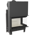 Kratki teplovzdušná krbová vložka MBO P BS G 15 kW pravé boční prosklení gilotina doprava a kouřovod