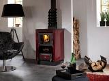 KVS Moravia SOFIE teplovodní kamna bordo chromované doplňky, broušená plotna a proskleným topeništěm s výměníkem